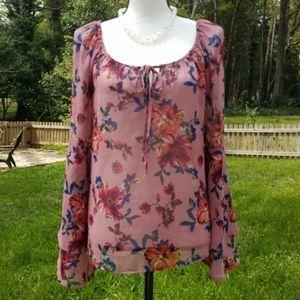 Plum colored floral sheer blouse peasant boho M